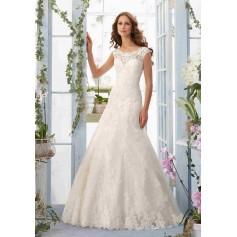 Vestido de Novia con apliques de encaje bordados